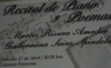 Recital de Piano y Poemas, hoy sábado