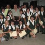 Generación 2007-2010 del área de Ciencias Sociales y Humanidades del COBACH, les acompaña su padrino, Juan Carlos López Villavicencio (Enrique Montaño).