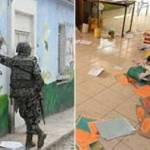 El tiroteo inició en una finca vecina al jardín de niños, donde al final se aseguró un fuerte arsenal que incluyó granadas de fragmentación y siete vehículos, la mayoría de estos últimos con reciente reporte de robo en Tepic.