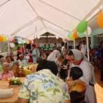 En una de las terrazas del asilo de ancianos se llevó a cabo el festejo para todos los internos de esa institución que es orgullo de Santa Rosalía.