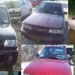 Cuatro vehículos recuperados esta semana por la Unidad de Reacción Inmediata de la Secretaría de Seguridad Pública (SSP) del Estado.