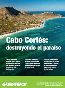 """Cartel de Greenpeace sobre el proyecto """"Cabo Cortés"""""""