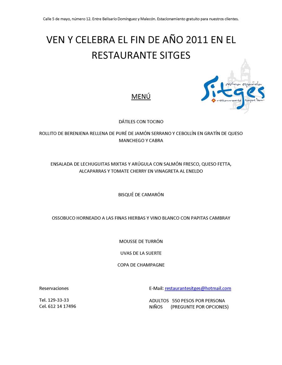 Menú de Fin de Año - Restaurante Sitges