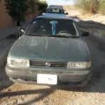 Nissan Sentra recuperado por los agentes de la DSyTM.