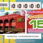 El día de hoy, 17 de febrero de 2012, se llevará a cabo el Sorteo Magno de la Lotería Nacional, a las 19:00 horas, en la Explanada de Rectoría de la UABCS como parte de las actividades del 36 aniversario de la Máxima Casa de Estudios en el estado.