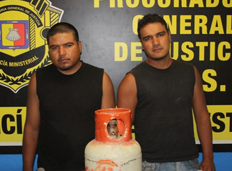 Con tanque de gas robado atraparon a Barney y Melvin
