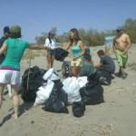 Partiendo desde el malecón, un grupo de cerca de quince personas a bordo de kayaks se dio a la tarea de contratar una lancha y llenar de basura que ciudadanos y visitantes inconscientes han depositaron en la conocida playa.