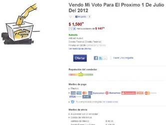 En un portal de ventas en la web, un usuario vende su voto del próximo domingo a través de una subasta al mejor postor.