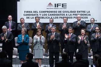 Firman un inédito pacto de civilidad Josefina Vázquez Mota, Enrique Peña Nieto, Gabriel Quadri y Andrés Manuel López Obrador.