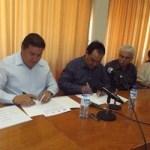 El M. en C. Gustavo Rodolfo Cruz Chávez, Rector de la UABCS, y el Dr. Santiago Alan Cervantes Aldama, Secretario de Salud y Director General del Instituto de Servicios de Salud del Estado de BCS, firmaron un convenio de subrogación de servicios médicos.