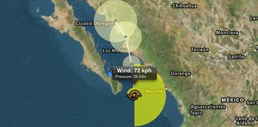 Se forma Norman entre las costas de Sinaloa y BCS