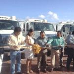 Coordinación Local de Servicios Públicos recibió 4 camiones recolectores