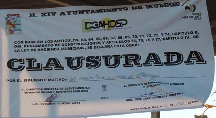 Retira el Ayuntamiento sellos de clausura en El Boleo
