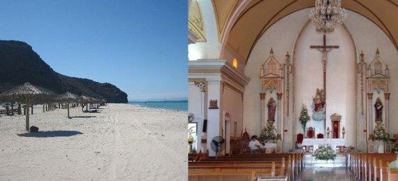 playa o iglesia
