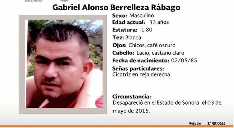 ¿Has visto a Gabriel Alonso Berrelleza Rábago?