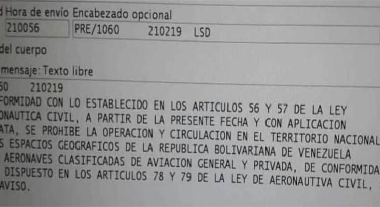 Cierra Venezuela su espacio aéreo