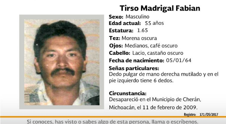 ¿Has visto a Tirso Madrigal Fabián?