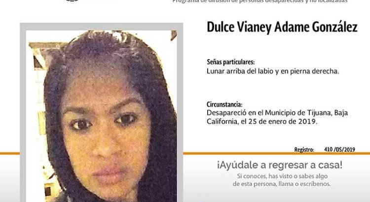 ¿Has visto a Dulce Vianey Adame González?