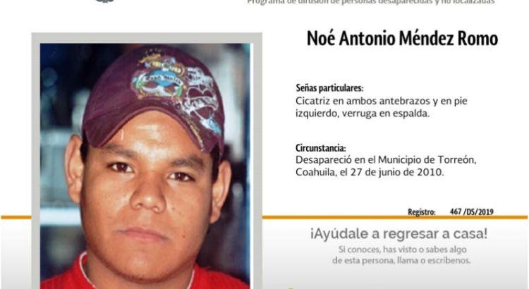 ¿Has visto a Noé Antonio Méndez Romo?
