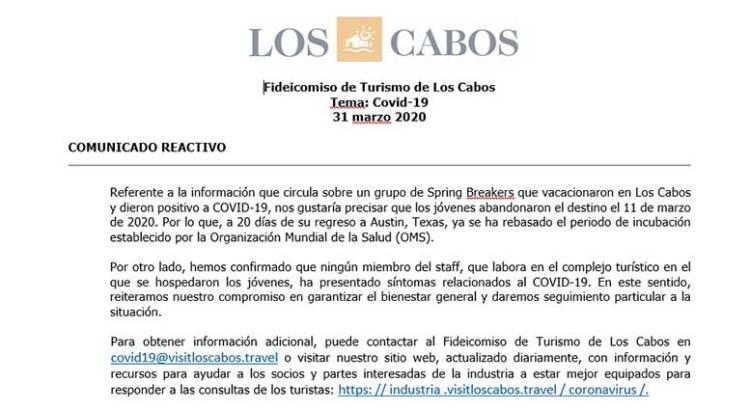 No se contagiaron en Los Cabos los spring breakers