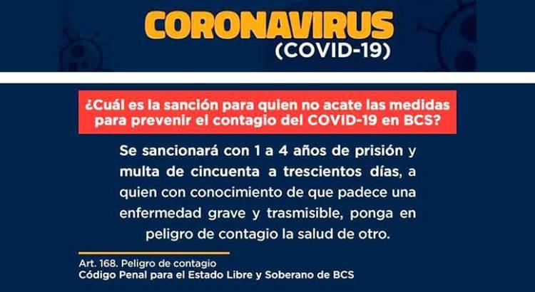 De uno a cuatro años de cárcel a quien contagie el COVID19