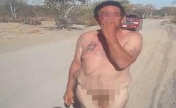 Lo encontraron desnudo y golpeado