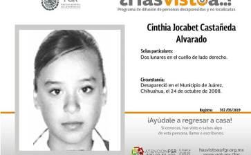 ¿Has visto a Cinthia Jocabet Castañeda Alvarado?