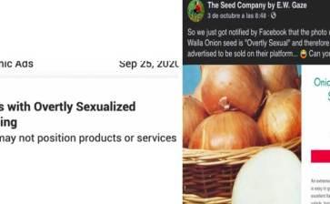 Bloquea Facebook anuncio de cebollas