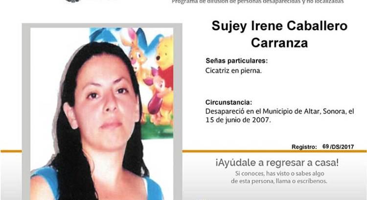 ¿Has visto a Sujey Irene Caballero Carranza?