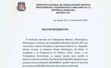 """""""Intercederán""""  el Sindicato minero y Víctor Castro ante el Gobierno federal"""