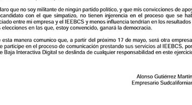 """No es """"militante de ningún partido"""" el empresario encargado del PREP"""