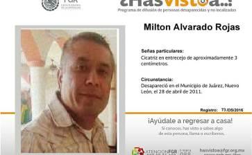 ¿Has visto a Milton Alvarado Rojas?