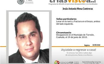 ¿Has visto a Jesús Antonio Mena Contreras?
