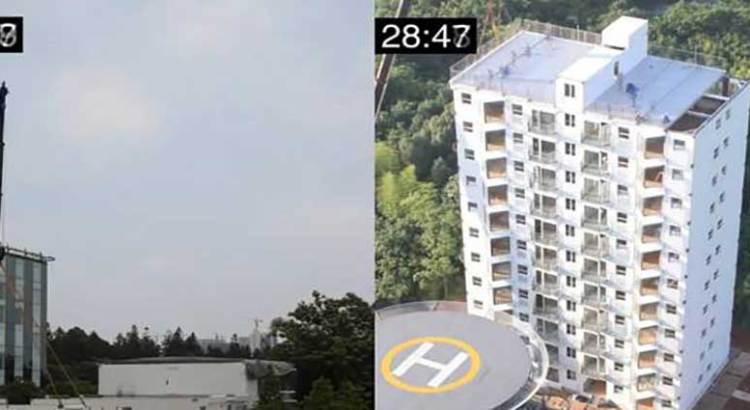 En 28 horas construyeron edificio de 10 pisos