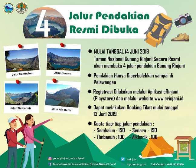 Empat jalur pendakian Rinjani dibuka