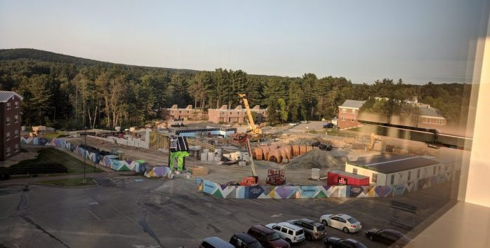 A view of the construction site from Kingston Hall.