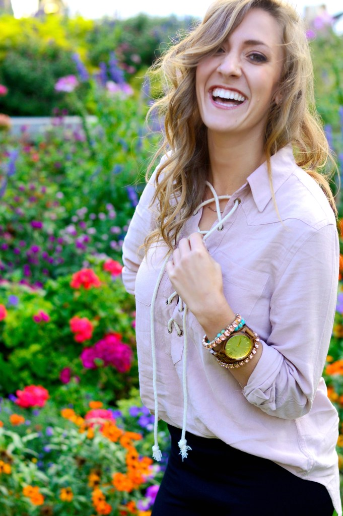 Setting Your Gratitude Intention featuring a lace up blouse from Camixa and JORD wood watch