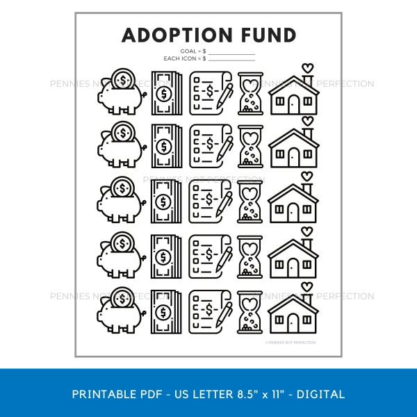 Adoption Fund Savings Tracker   Adoption Savings Coloring Chart Printable