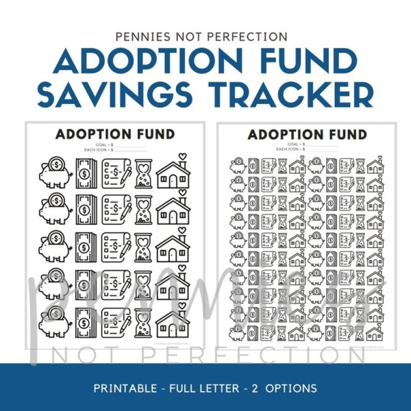 Adoption Fund Savings Tracker | Adoption Savings Coloring Chart Printable - Pennies Not Perfection