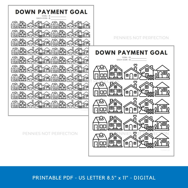 Down Payment Savings Goal Tracker | House Down Payment Savings Printable 1