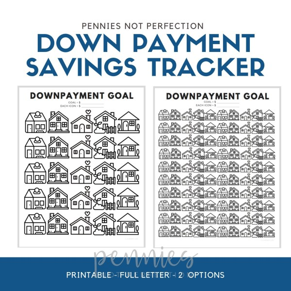 Down Payment Savings Goal Tracker | House Down Payment Savings Printable - Pennies Not Perfection
