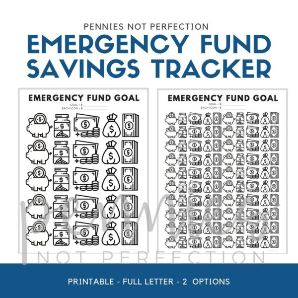 Emergency Fund Savings Tracker | Savings Tracker | Savings Printable