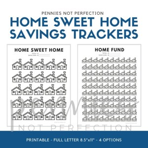 Home Sweet Home Savings Goal Tracker | Home Fund Savings or Debt Payoff Printable Tracker - Pennies Not Perfection