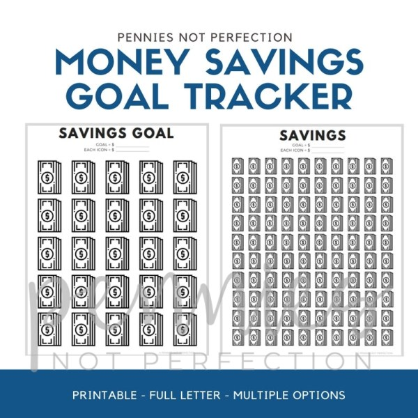 Money Savings Goal Tracker | Dollar Bills Savings Tracker Printable