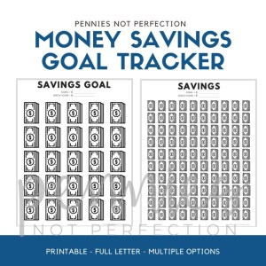 Money Savings Goal Tracker | Dollar Bills Savings Tracker Printable