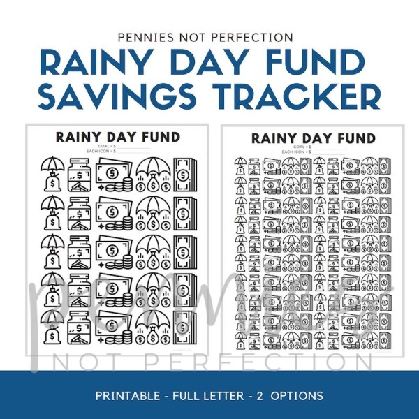 Rainy Day Fund Tracker | Savings Tracker | Savings Printable Chart - Pennies Not Perfection