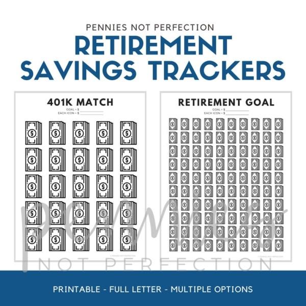 Retirement Savings Tracker Printables Bundle | 401K Roth IRA Retirement Trackers | Savings Tracker PDF