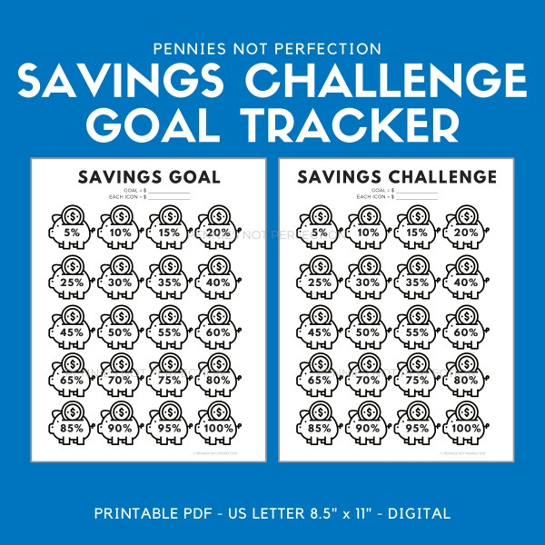 Savings Challenge Goal Tracker Printable | Piggy Bank Savings Goal Tracker 1