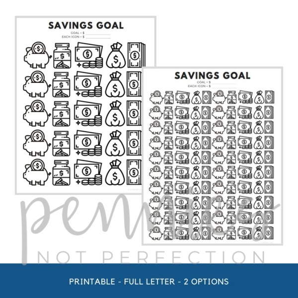 Savings Goal Tracker | Savings Printable | Savings Tracker - Pennies Not Perfection 2