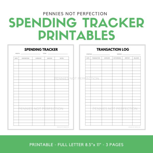 Spending Tracker Printable | Transaction Log Printable 1
